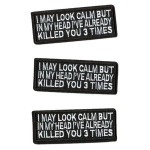 FUNNY NOVELTY PATCHES QUOTES PHRASES BADGES 3PCS
